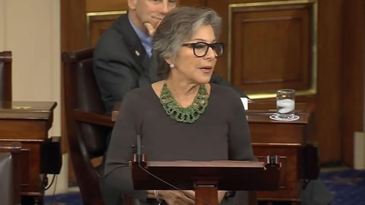 Senator Barbara Boxer speaks on the Senate floor in Washington, D.C. on Wednesday, Dec. 7, 2016.