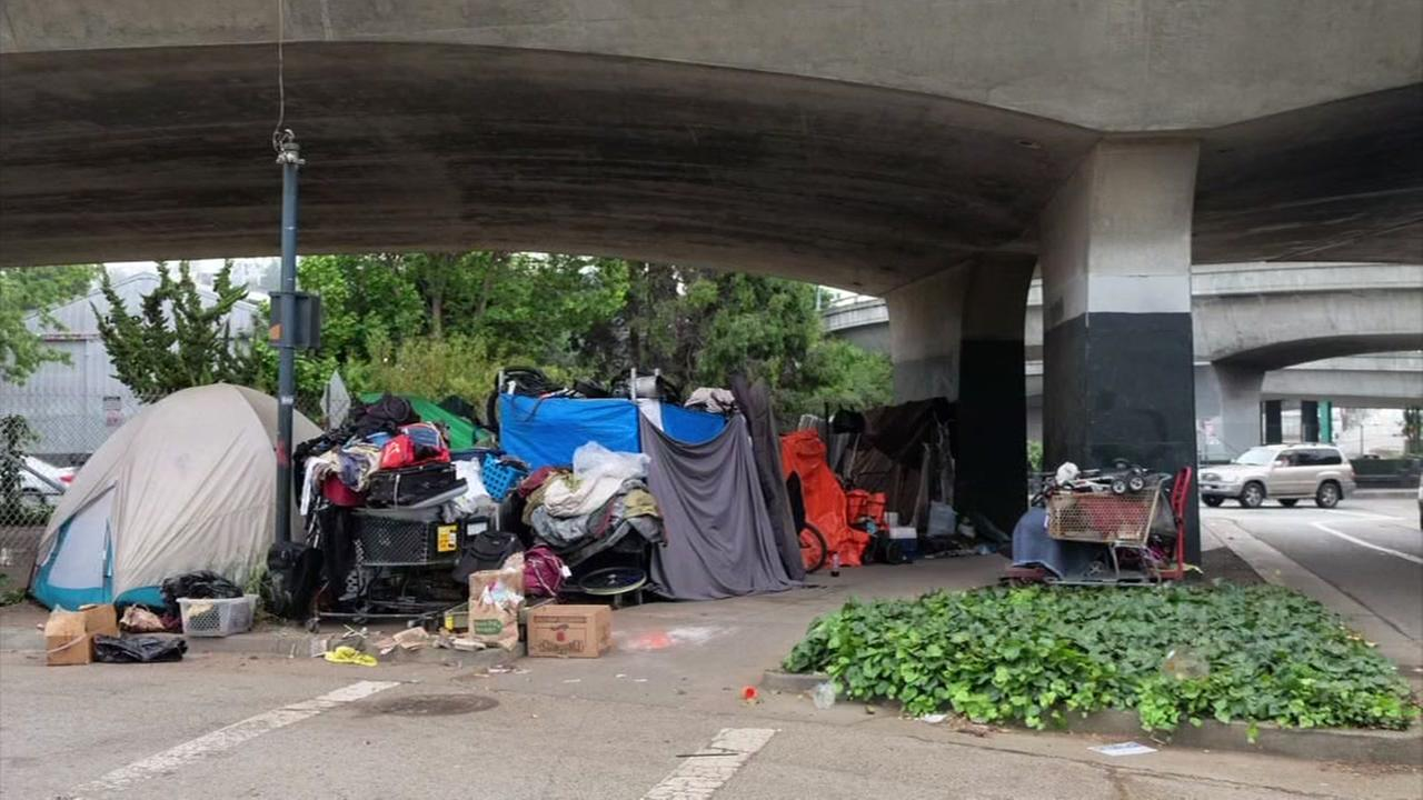 This is an undated image of a homeless encampment in San Francisco, Calif.
