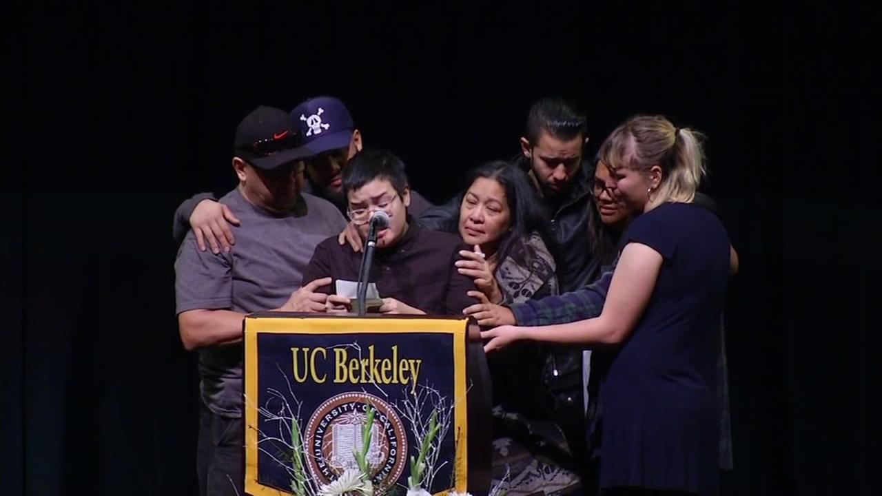 The family and friends of Vanessa Plotkin speak at a vigil at UC Berkeley on Dec. 8, 2016.