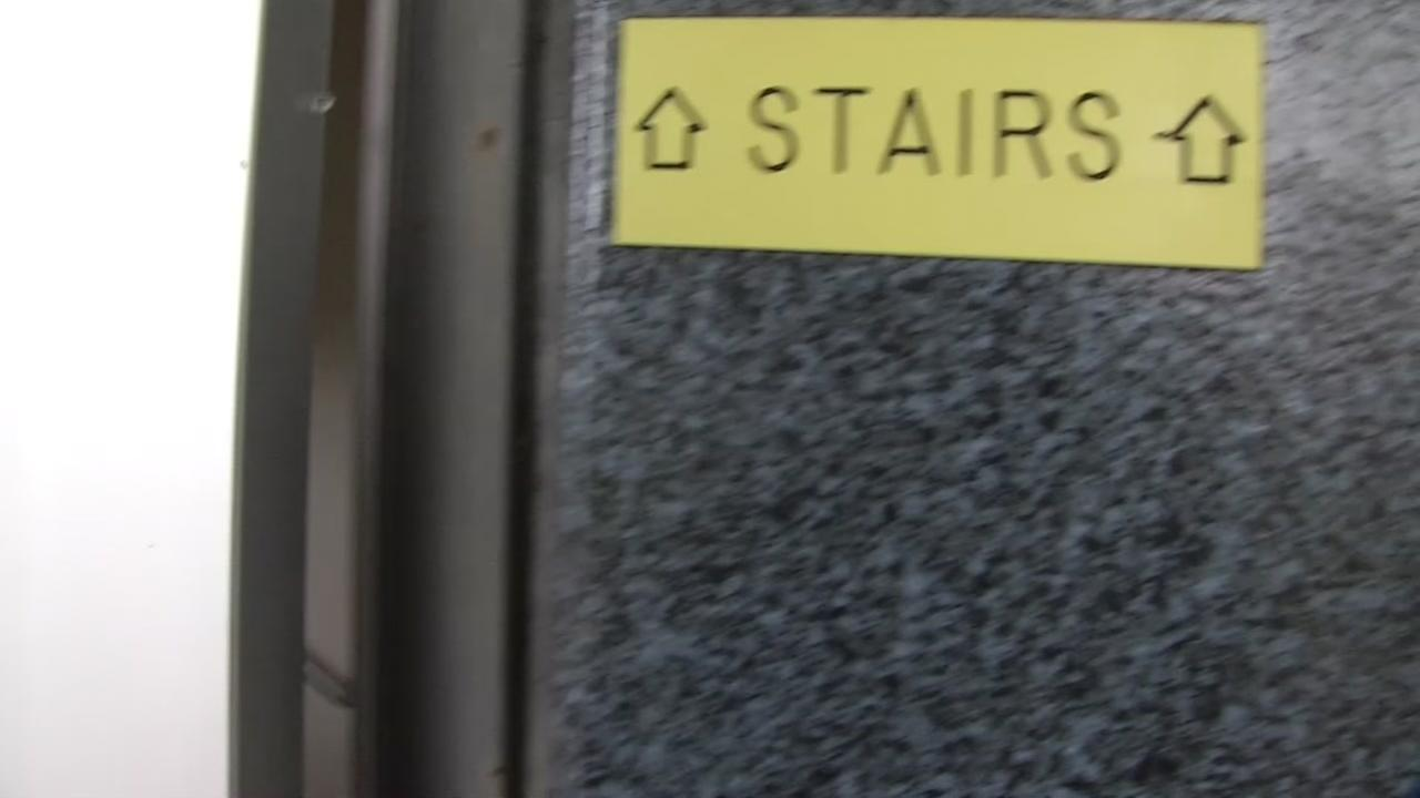 This is an undated image of a stairwell at San Jose State University in San Jose, Calif.