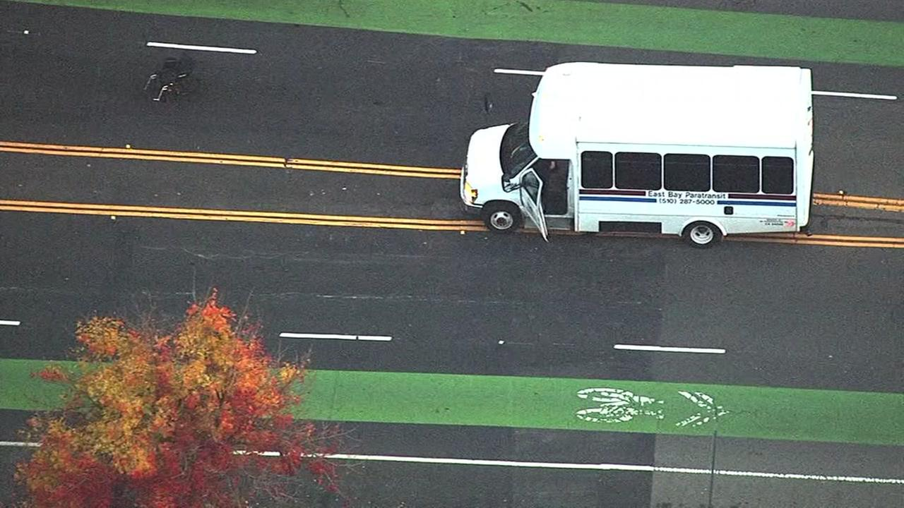 A pedestrian in a wheelchair was hit and killed in an accident involving a paratransit bus in Oakland, Calif. on Monday, Dec. 12, 2016.
