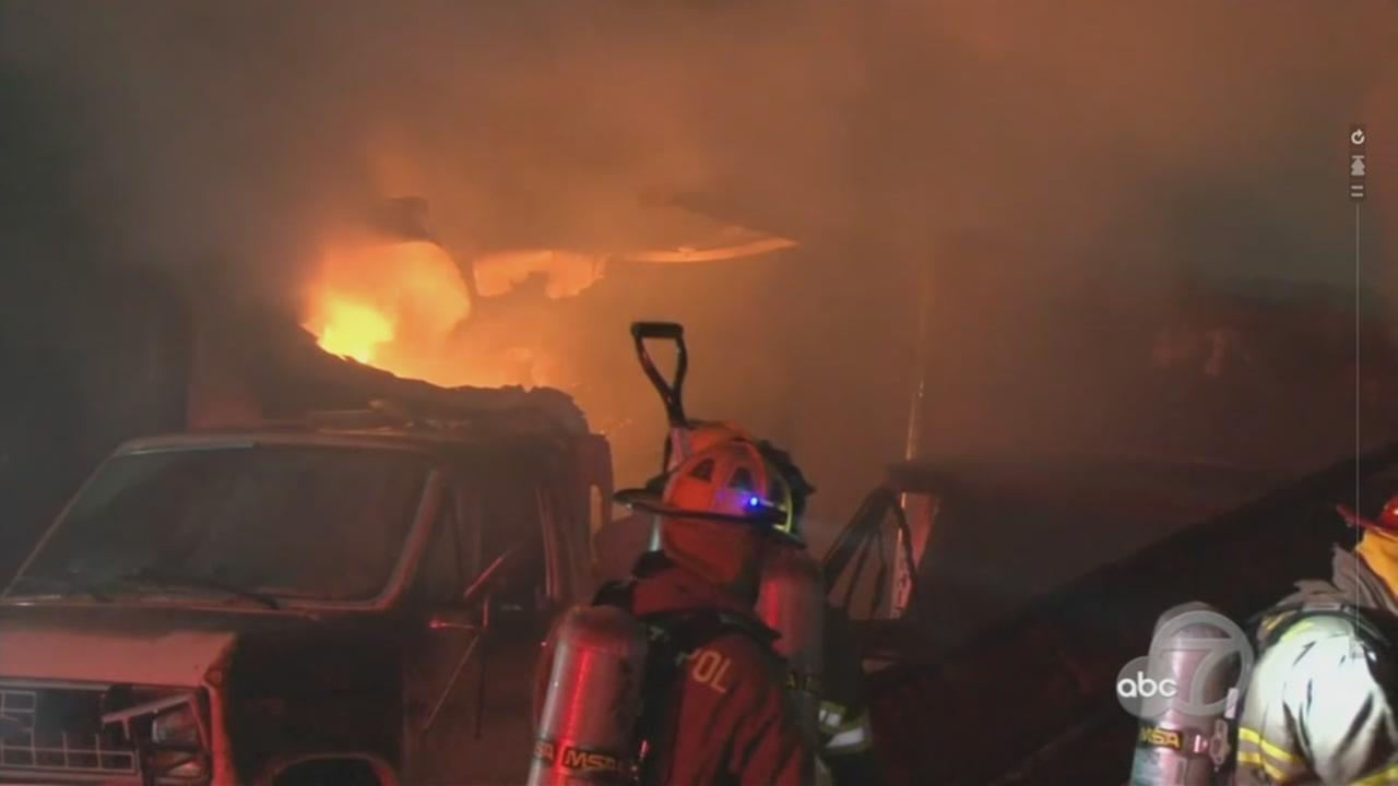 Crews are battling a 3-alarm structure fire in Santa Rosa, Calif. on Wednesday, Dec. 14, 2016.