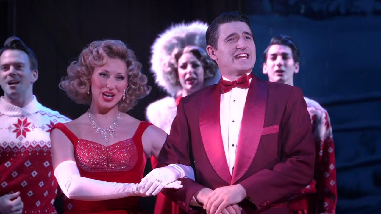 This is an undated image of performers in White Christmas at the Golden Gate Theatre in San Francisco.
