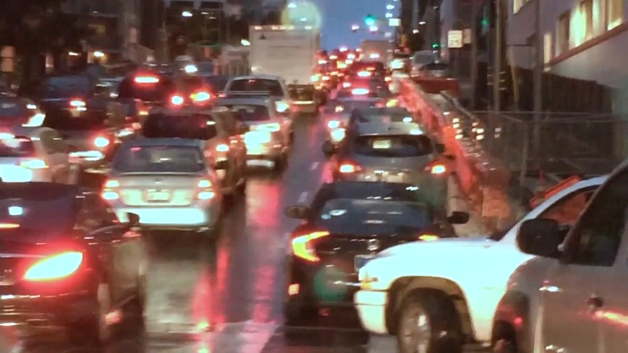 Cars appear backed up on a San Francisco surface street on Dec. 15, 2016.