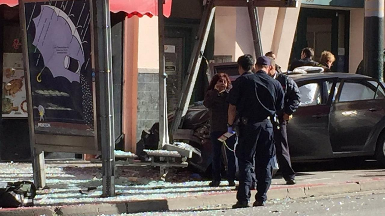 Several people have been injured after a car crashed into a bus stop in San Franciscos Chinatown, Friday, December 16, 2016.