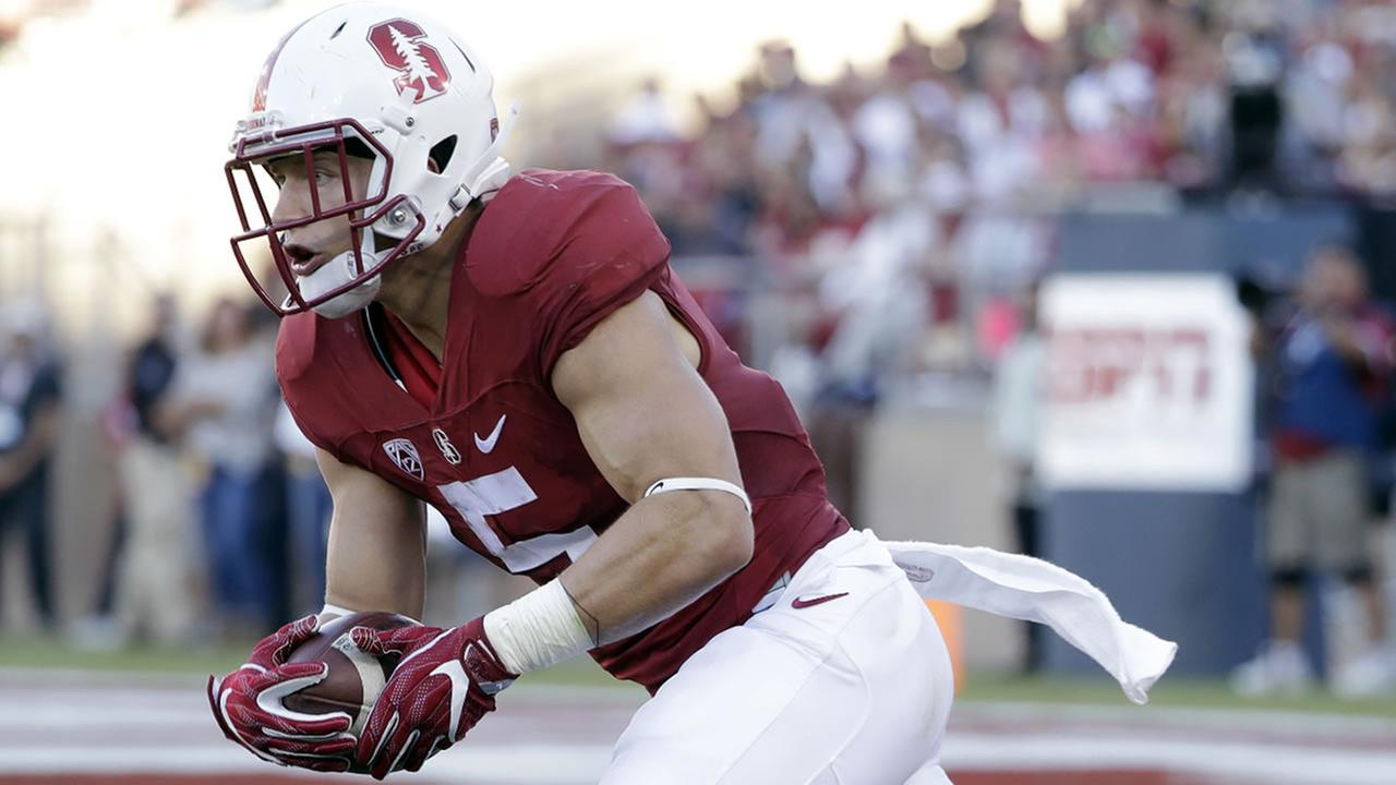 Christian McCaffrey (5) returns a punt against Southern California during the first half of an NCAA college football game Saturday, Sept. 17, 2016, in Stanford, Calif.