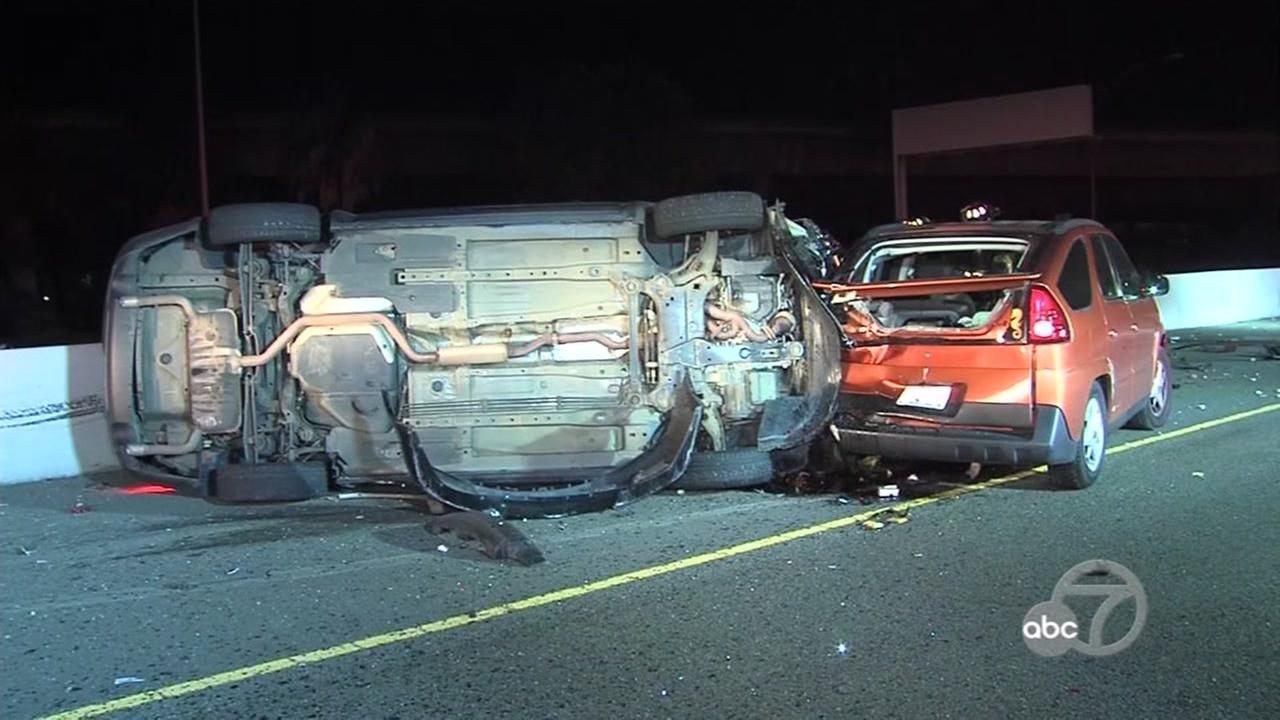 A mother and son were injured in a freak accident on I-680 in San Jose, Calif. on Tuesday, Dec. 20, 2016.