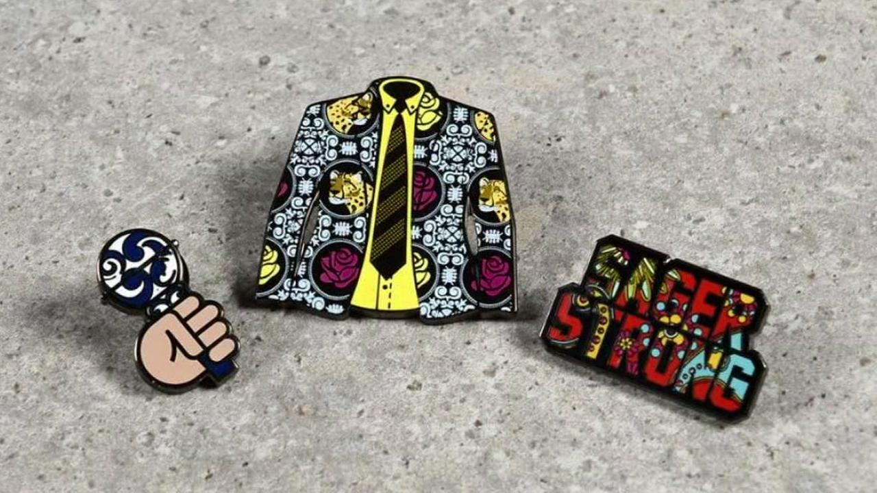 Pins available at Foot Locker to benefit late sportscaster Craig Sager are seen in this undated image.