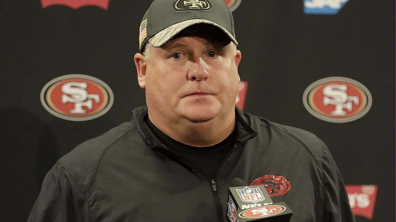 49ers head coach Chip Kelly speaks at a news conference after an NFL football game against the Seahawks in Santa Clara, Calif., Sunday, Jan. 1, 2017. (AP Photo/Marcio Jose Sanchez)