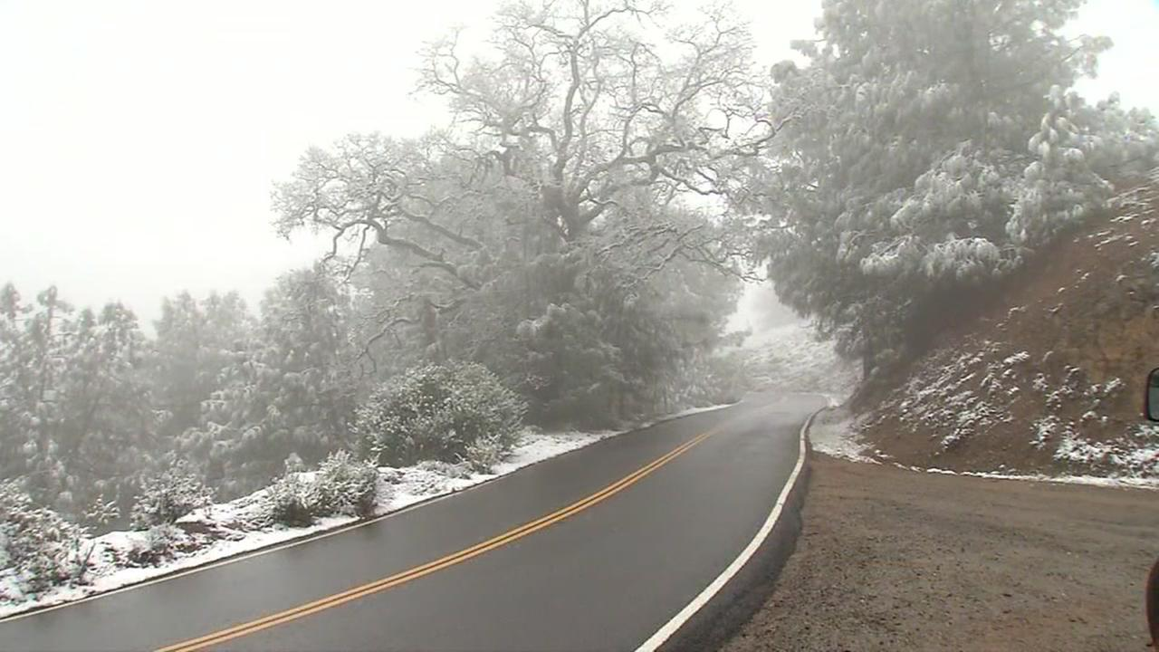 The road up to the peak of Mt. Hamilton is covered in snow on Monday, Jan. 2, 2017.