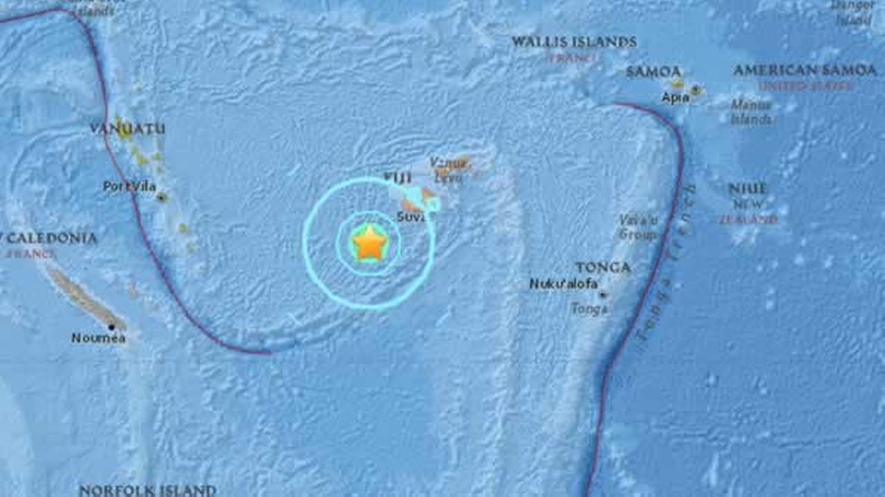 USGS says a preliminary 7.2 quake hit near Fiji on Tuesday, January 3, 2017.