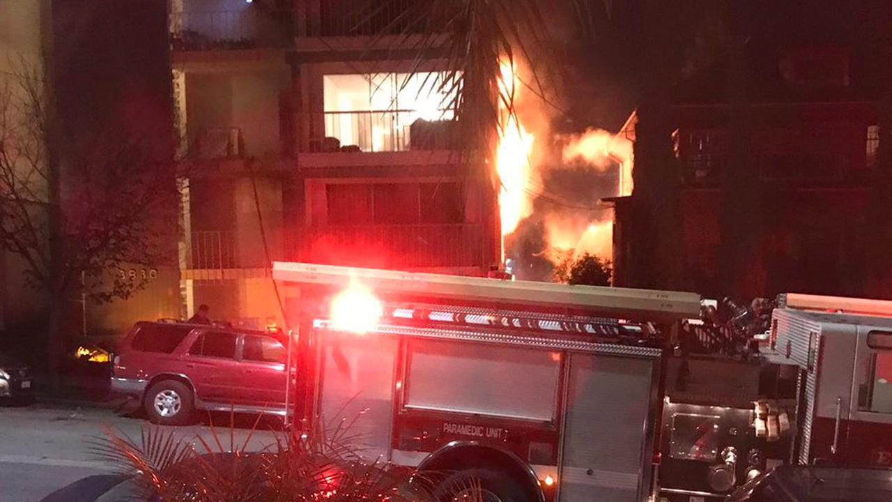 Structure fire in Oakland, California, Friday, January 6, 2017.