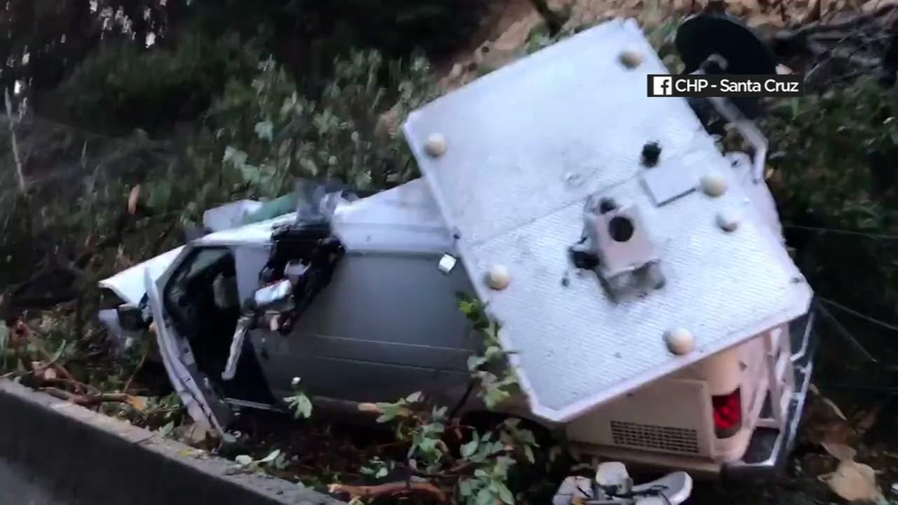 An ABC7 News was crushed in a mudslide on Hwy 17 in Santa Cruz County, California, Monday, January 9, 2017.CHP