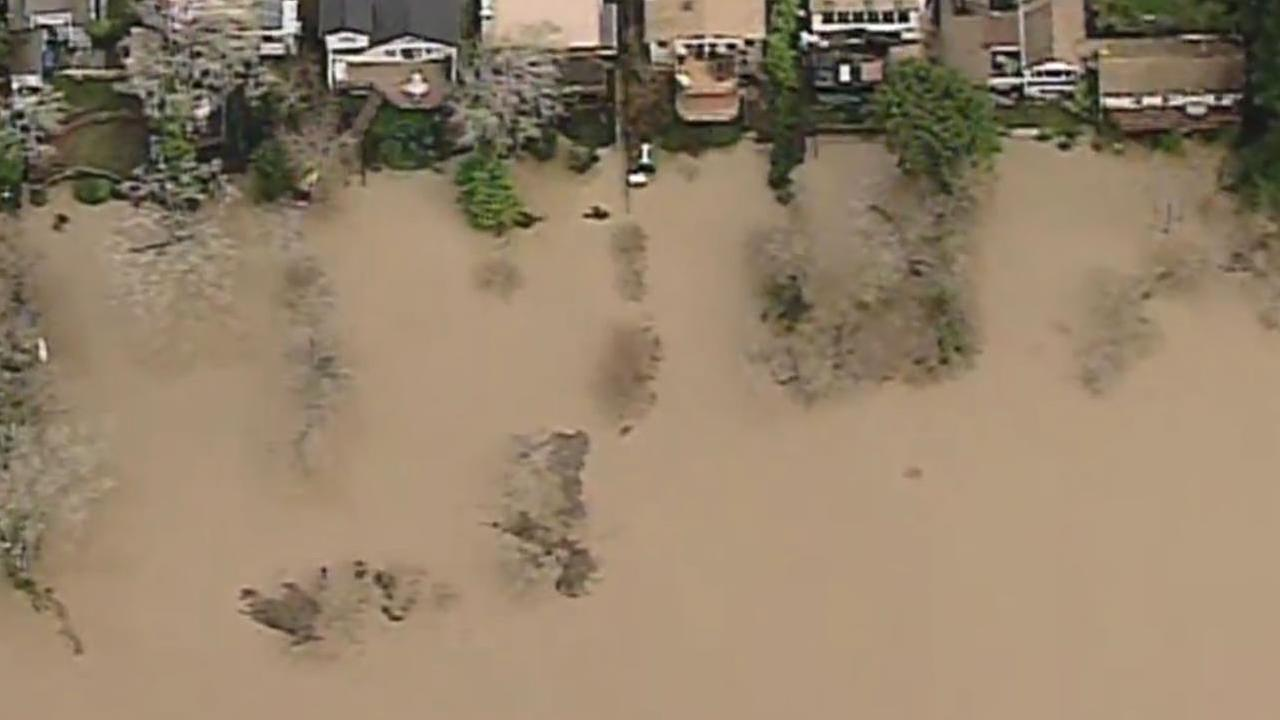 A row of homes along the Russian River were flooded after a storm that hit the area on Sunday, January 8, 2017.KGO-TV