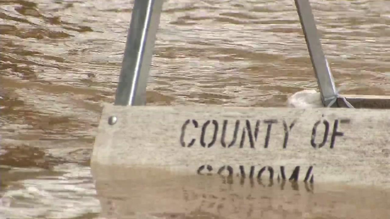 Flooding in Sonoma County is seen on Monday January 9, 2017.