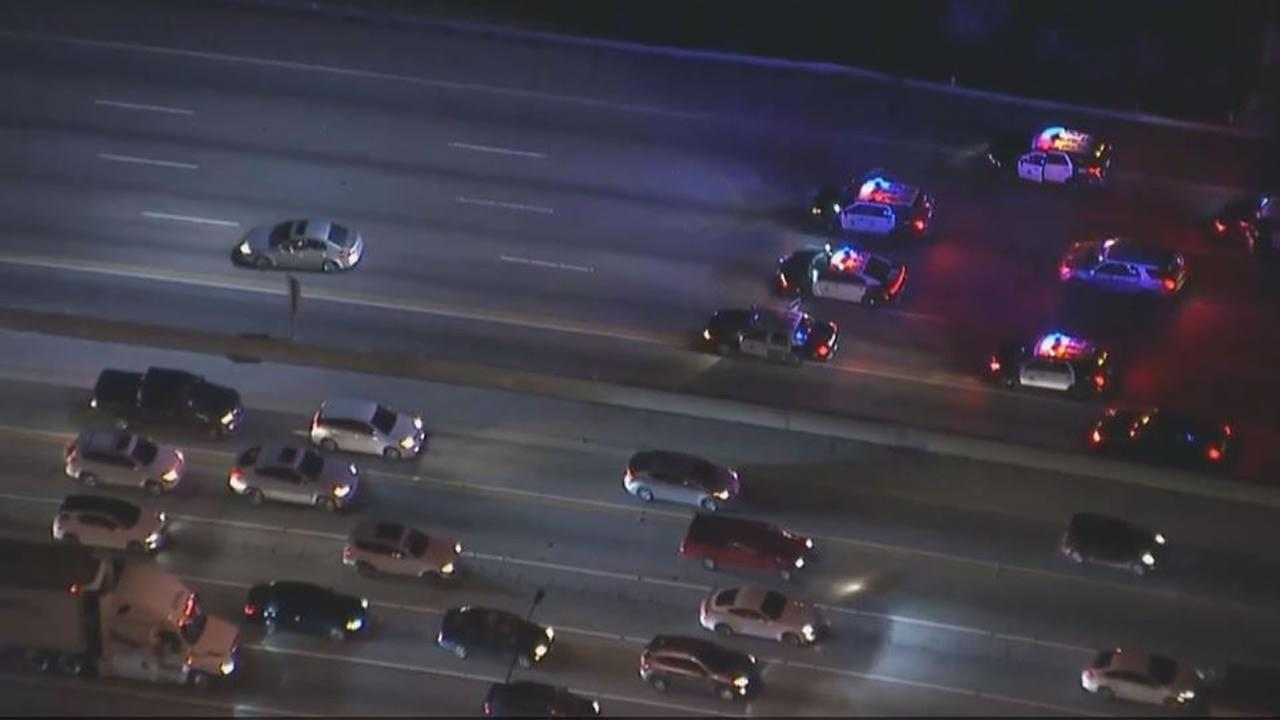 Los Angeles pursue an erratic, armed suspect on the 405 freeway on Jan. 9 , 2017.