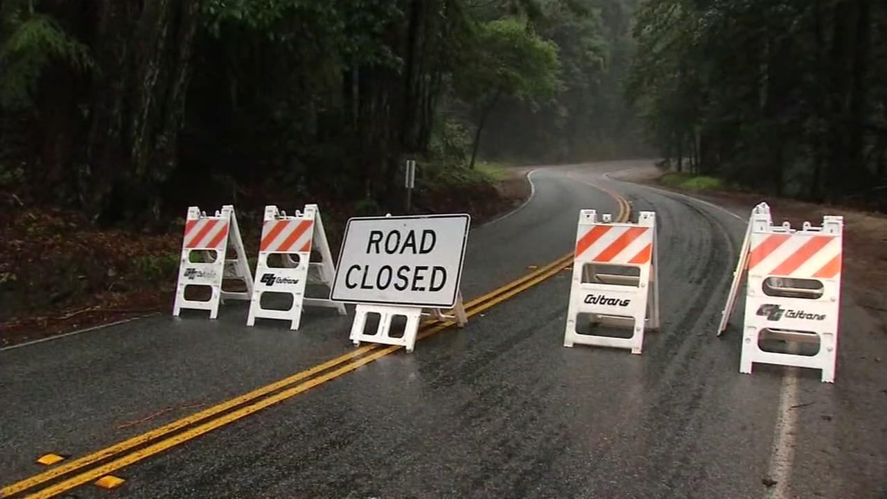 Part of Highway 9 is shut down in both directions near Felton, Calif. in the Santa Cruz Mountains on Tuesday, January 10, 2017.