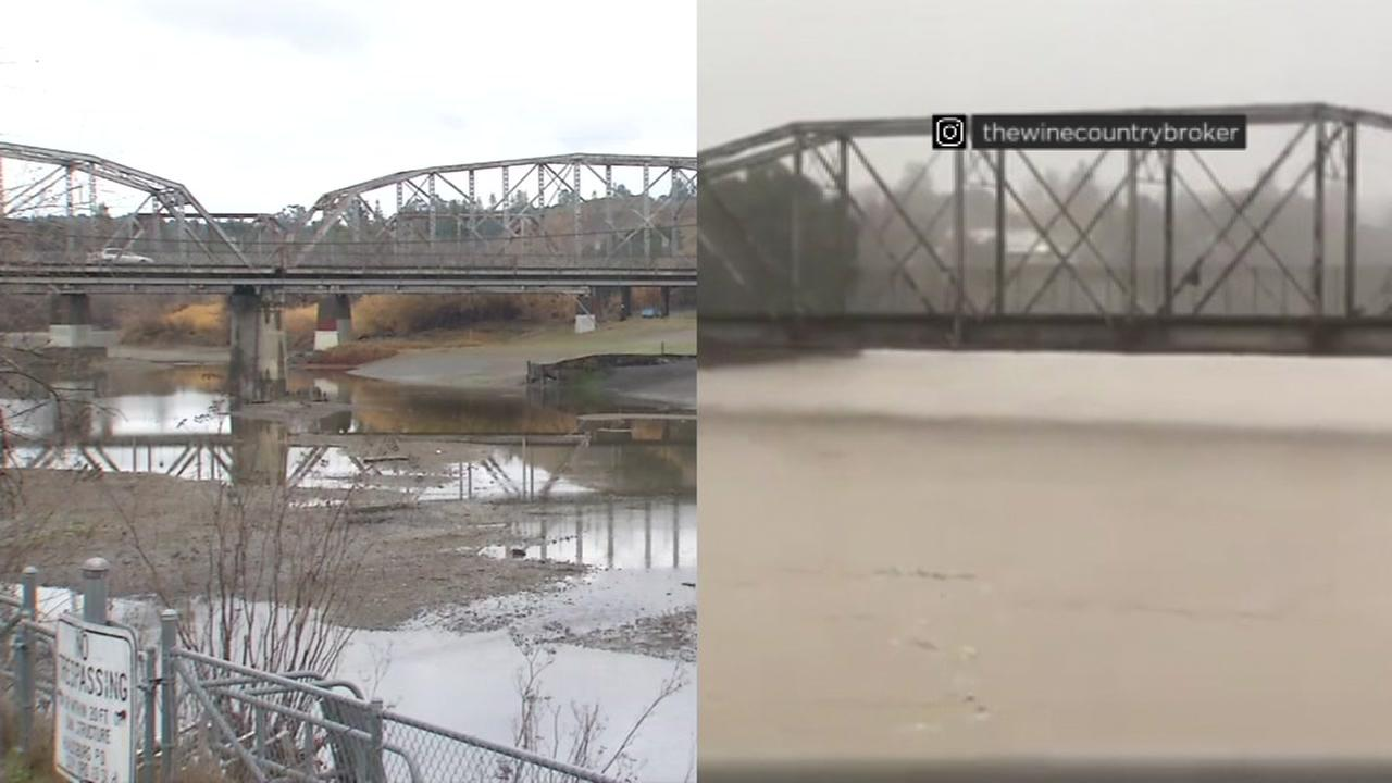 The photo on the left shows Memorial Bridge on the Russian River in February 2014 and the photo on the right shows it on January 10, 2017.
