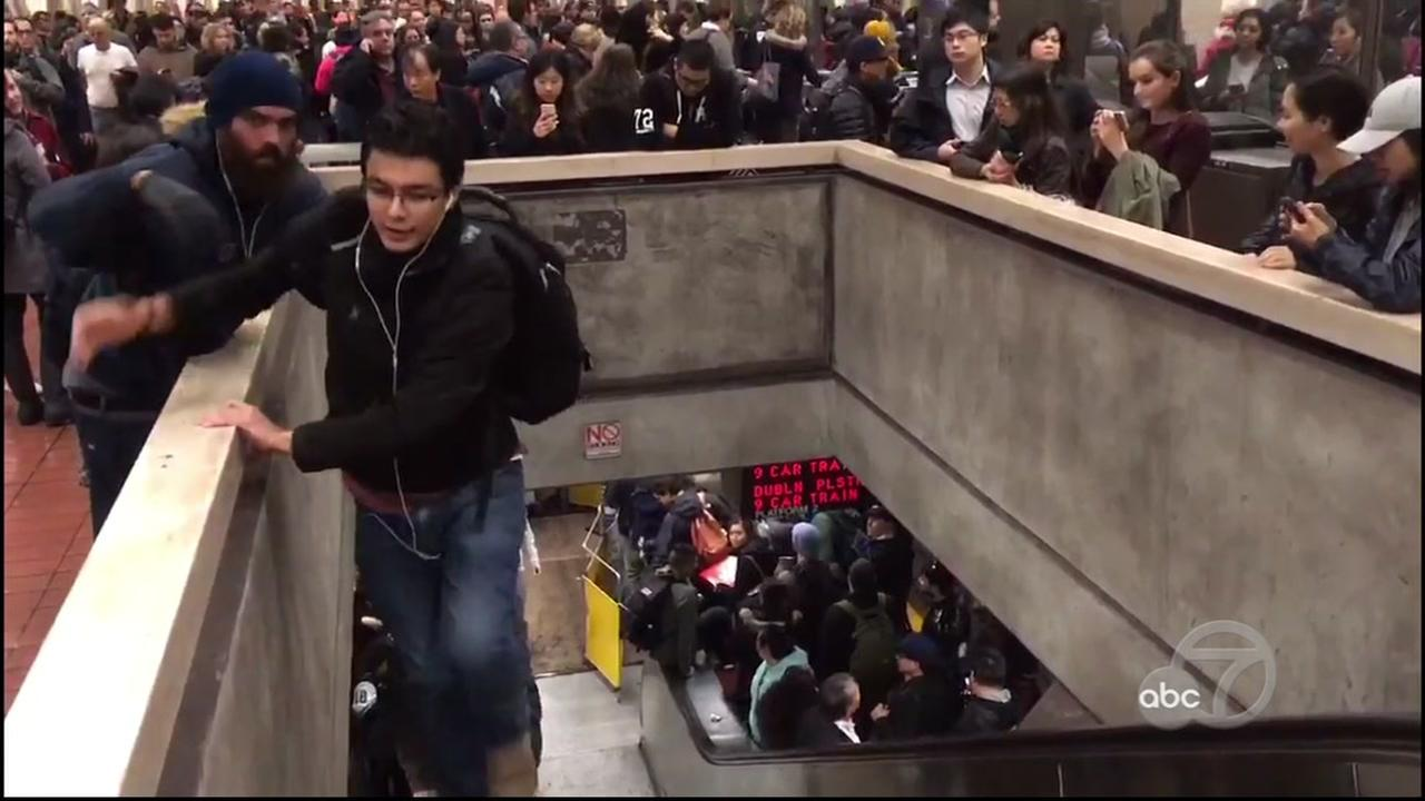 BART riders climbed up an out-of-commission escalator on Jan. 10, 2017.KGO-TV