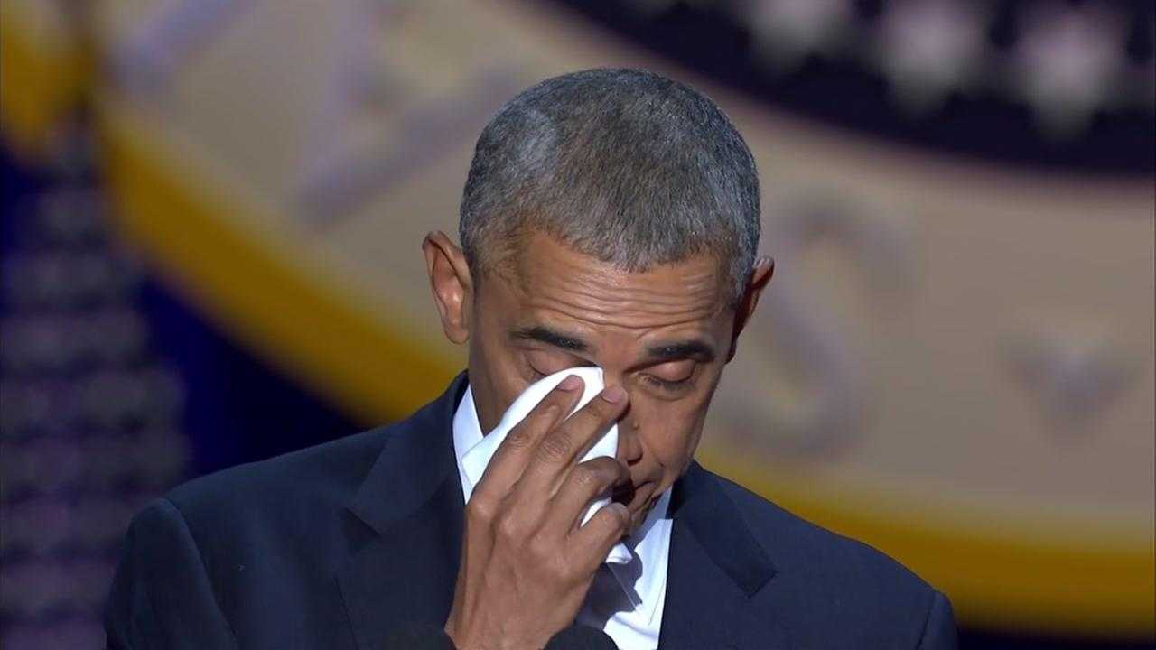 President Barack Obama tears up during his farewell address to the nation when thanking First Lady Michelle Obama in Chicago on Tuesday, January 10, 2017