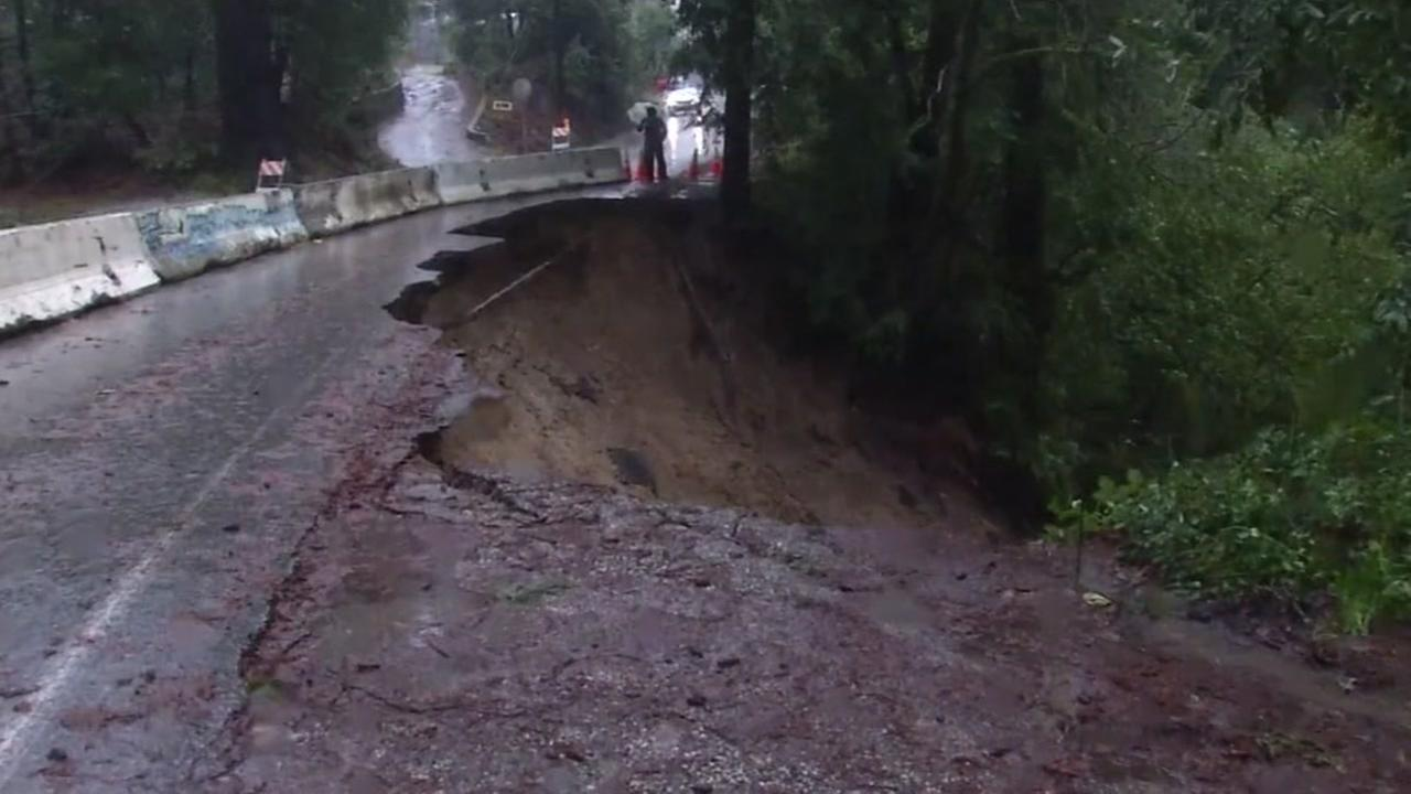 Part of a road in the Santa Cruz mountains slid away due to a massive storm in the Bay Area on Jan. 10, 2017.KGO-TV