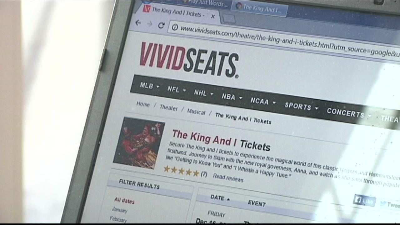 The VividSeats.com website shows tickets for sale for The King and I in San Francisco on Wednesday, January 11, 2017.