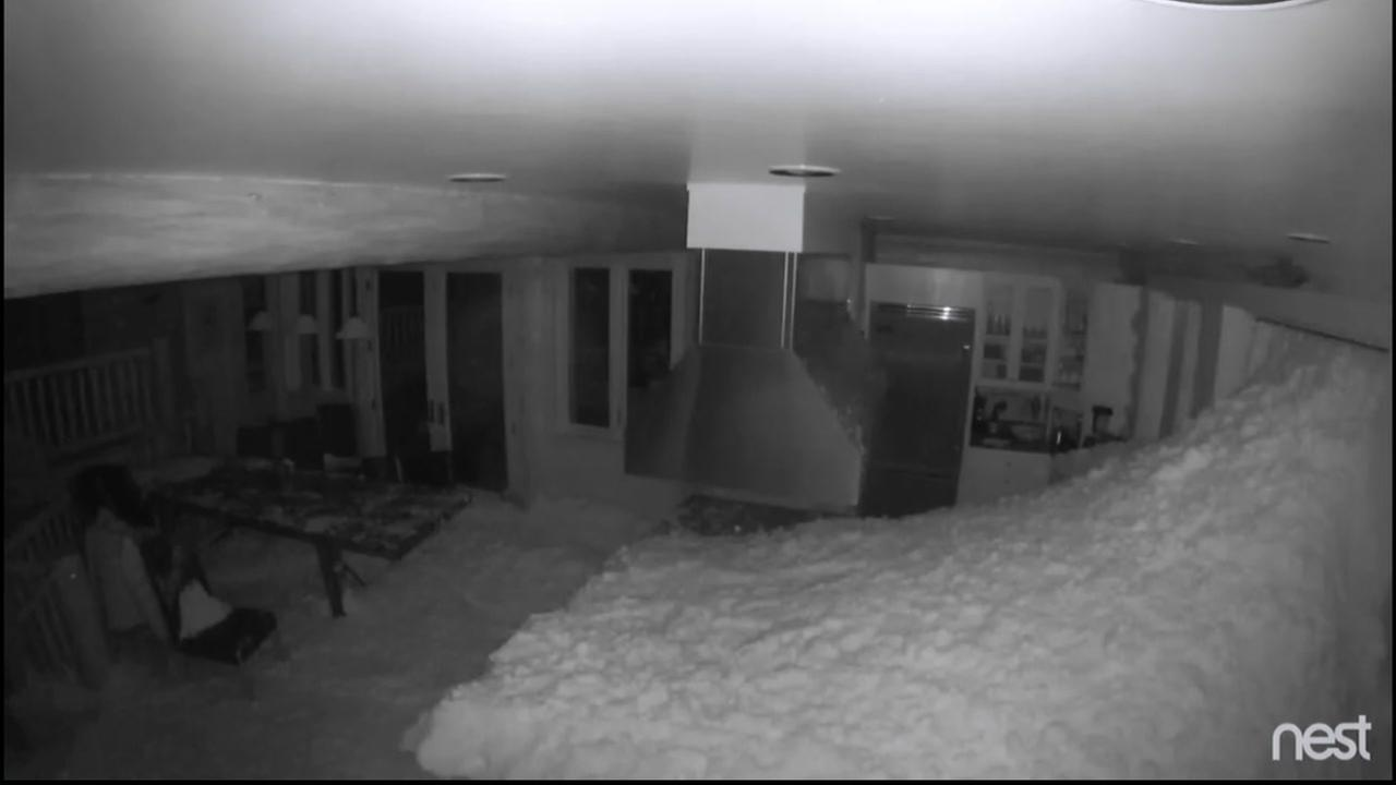 Samantha Fried posted this surveillance video of an avalanche obliterating a kitchen in the Kirkwwood Valley, Calif. area on Wednesday, January 11, 2017.