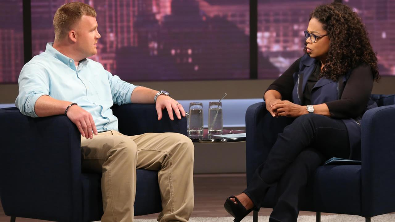 This June 27, 2014 image released by OWN shows Matt Sandusky, the adopted son of former Penn State assistant football coach Jerry Sandusky, during an interview with Oprah Winfrey. (AP Photo/Harpo, Inc., George Burns)