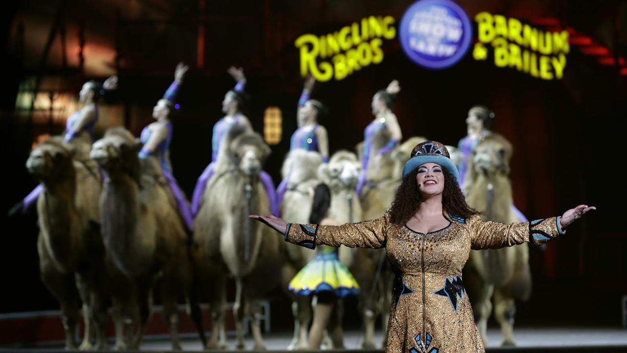 Ringling Bros. and Barnum and Bailey Ringmaster Kristen Michelle Wilson performs Saturday, Jan. 14, 2017, in Orlando, Fla. (AP Photo/Chris OMeara)