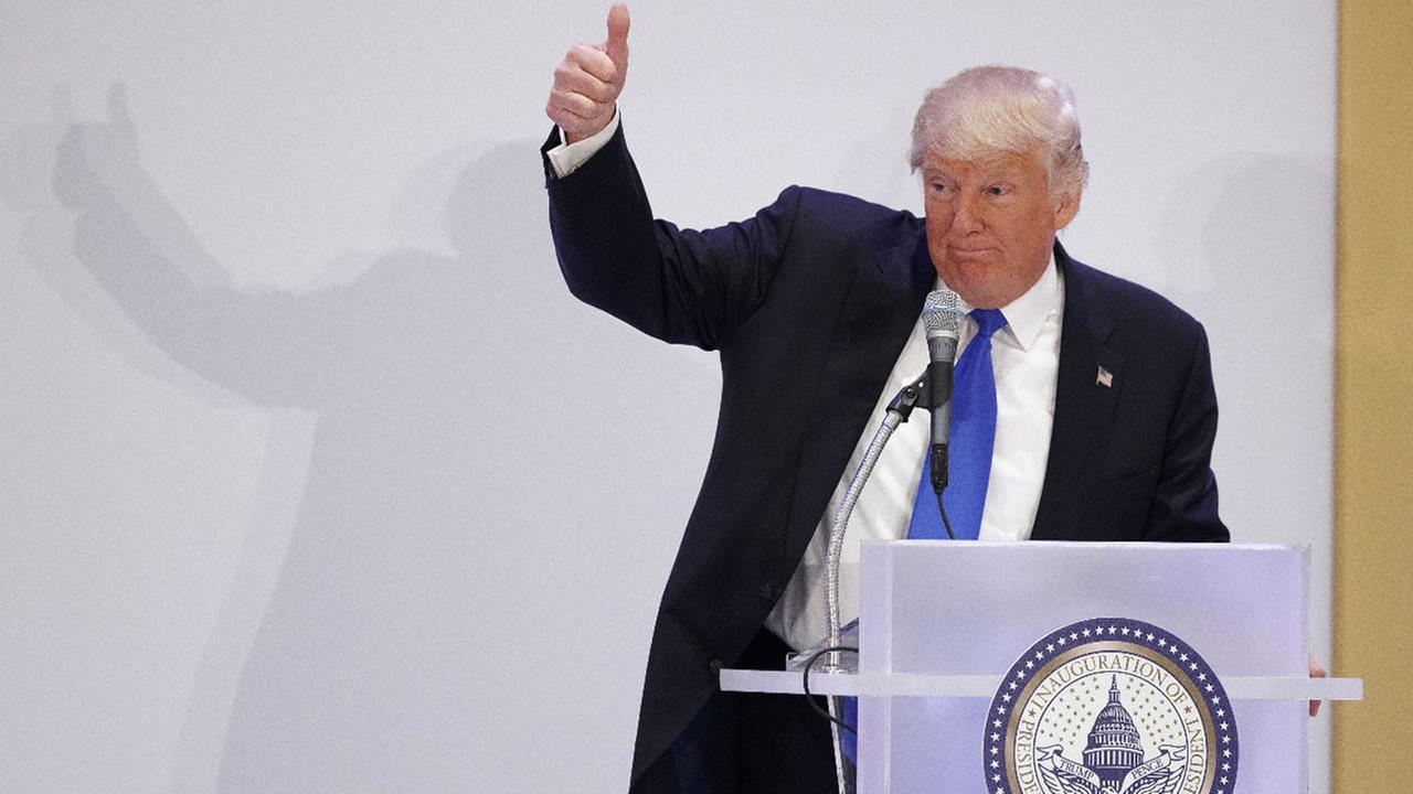 President-elect Donald Trump gives a thumbs-up as he speaks during the Leadership Luncheon at Trump International in Washington, Thursday, Jan. 19, 2017.