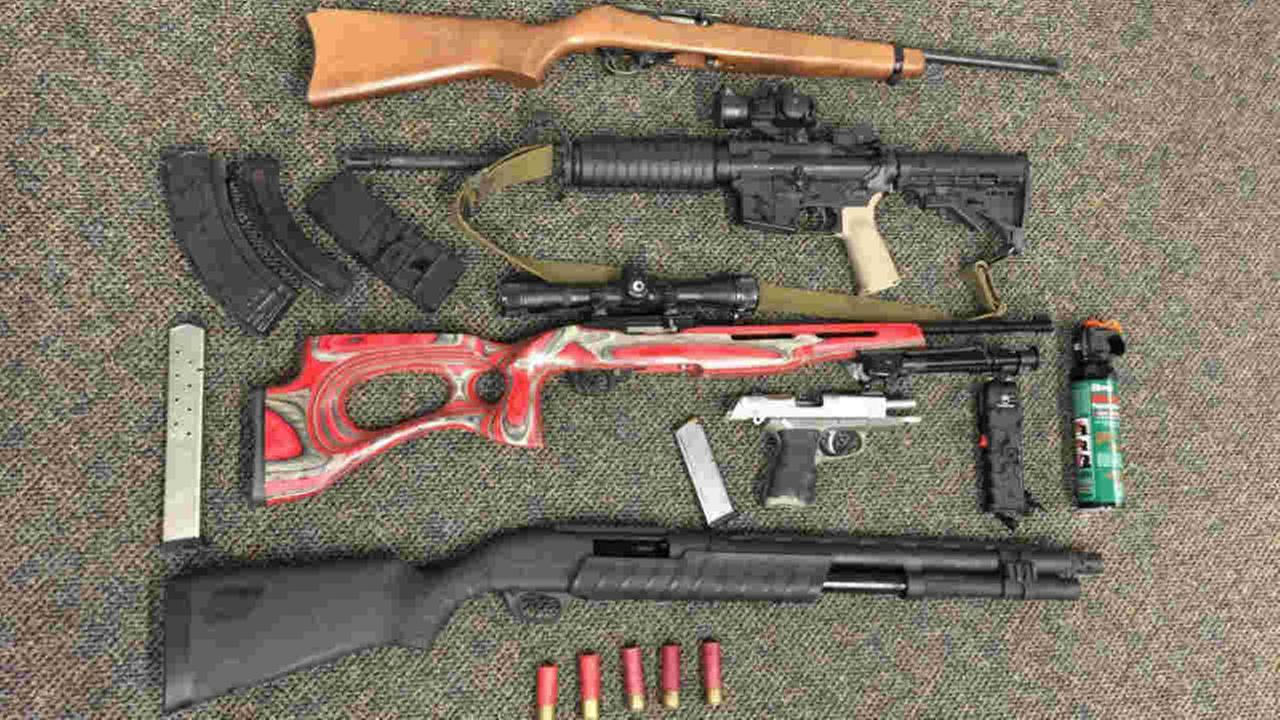 A cache of guns found in a convicted felons home in Santa Rosa, Calif. is seen in this undated image.