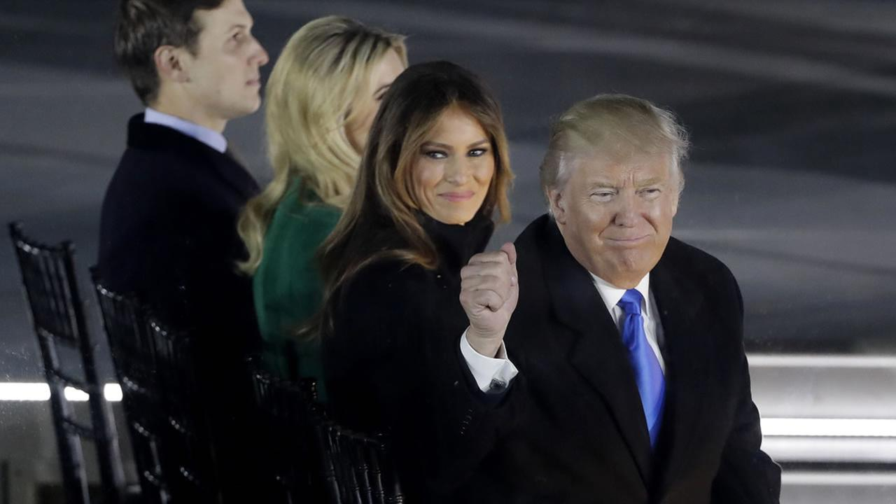 President-elect Donald Trump and Melania attend a pre-Inaugural Make America Great Again! Welcome Celebration at the Lincoln Memorial in Washington, Thurs, Jan. 19, 2017.