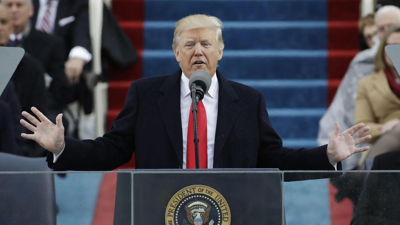 President Donald Trump delivers his inaugural address after being sworn in as the 45th president of the United States.
