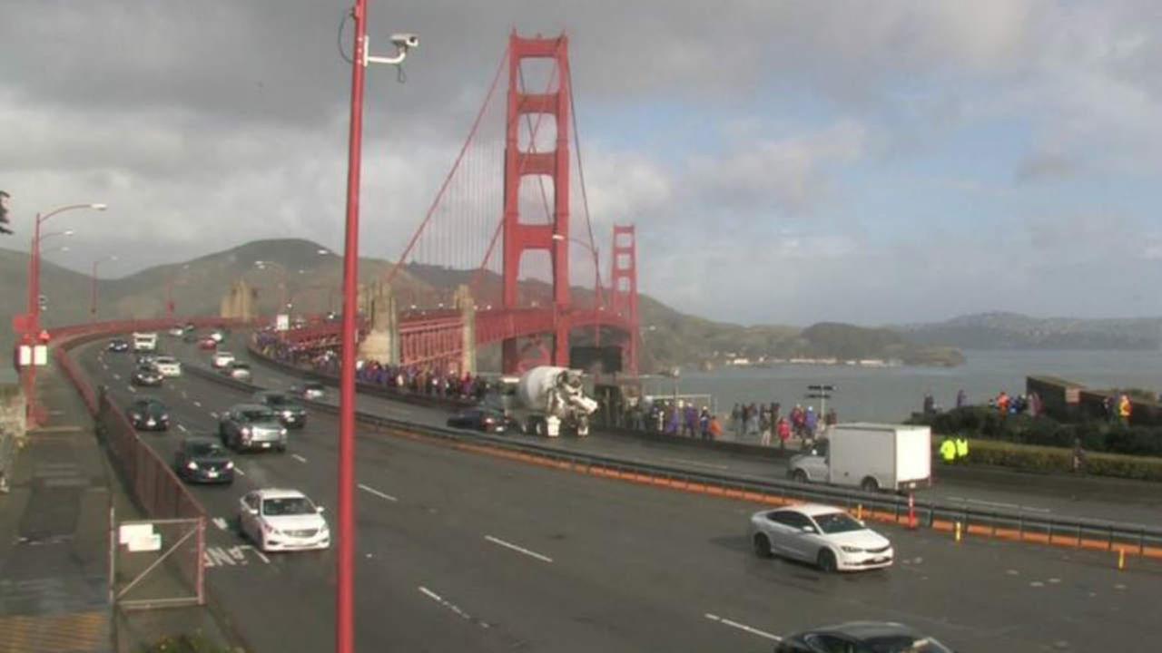 Thousands Gather To Form Human Chain Across Golden Gate Bridge