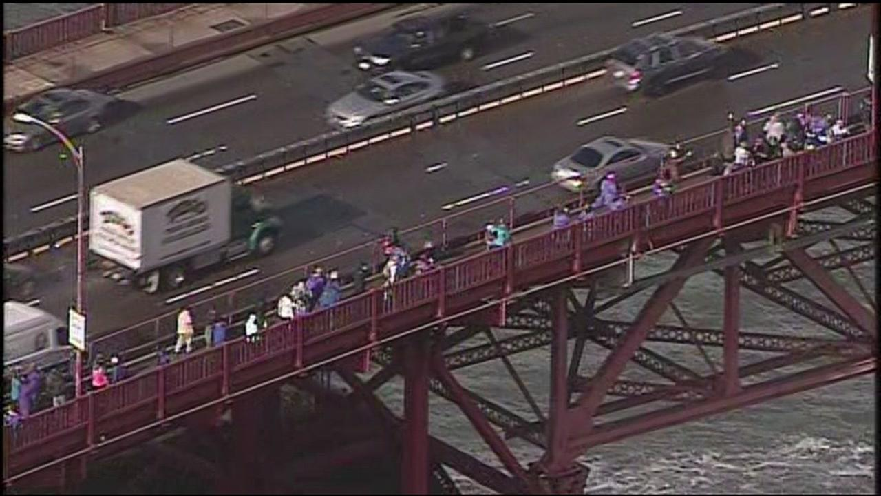 A human chain formed on the Golden Gate Bridge in San Francisco on Friday, January 20, 2017.KGO-TV