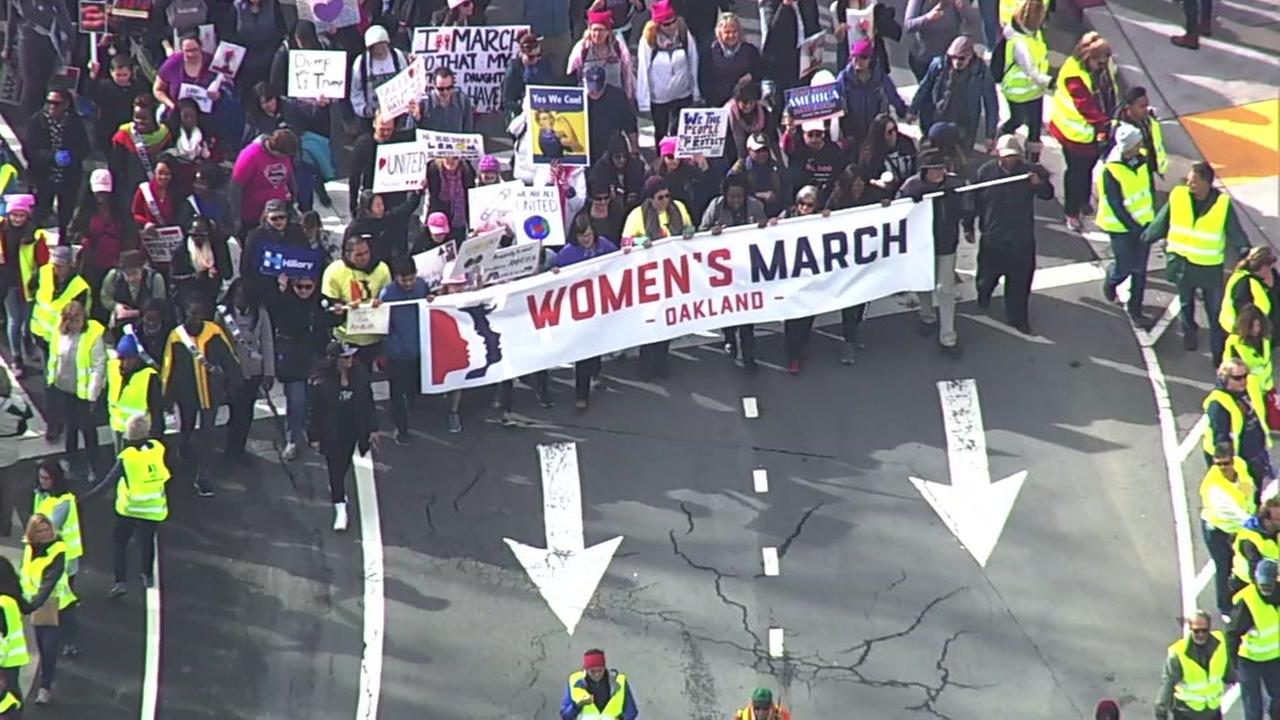 A large crowd is seen walking through Oakland, Calif. for the Womens March on Saturday, January 21, 2017.KGO-TV