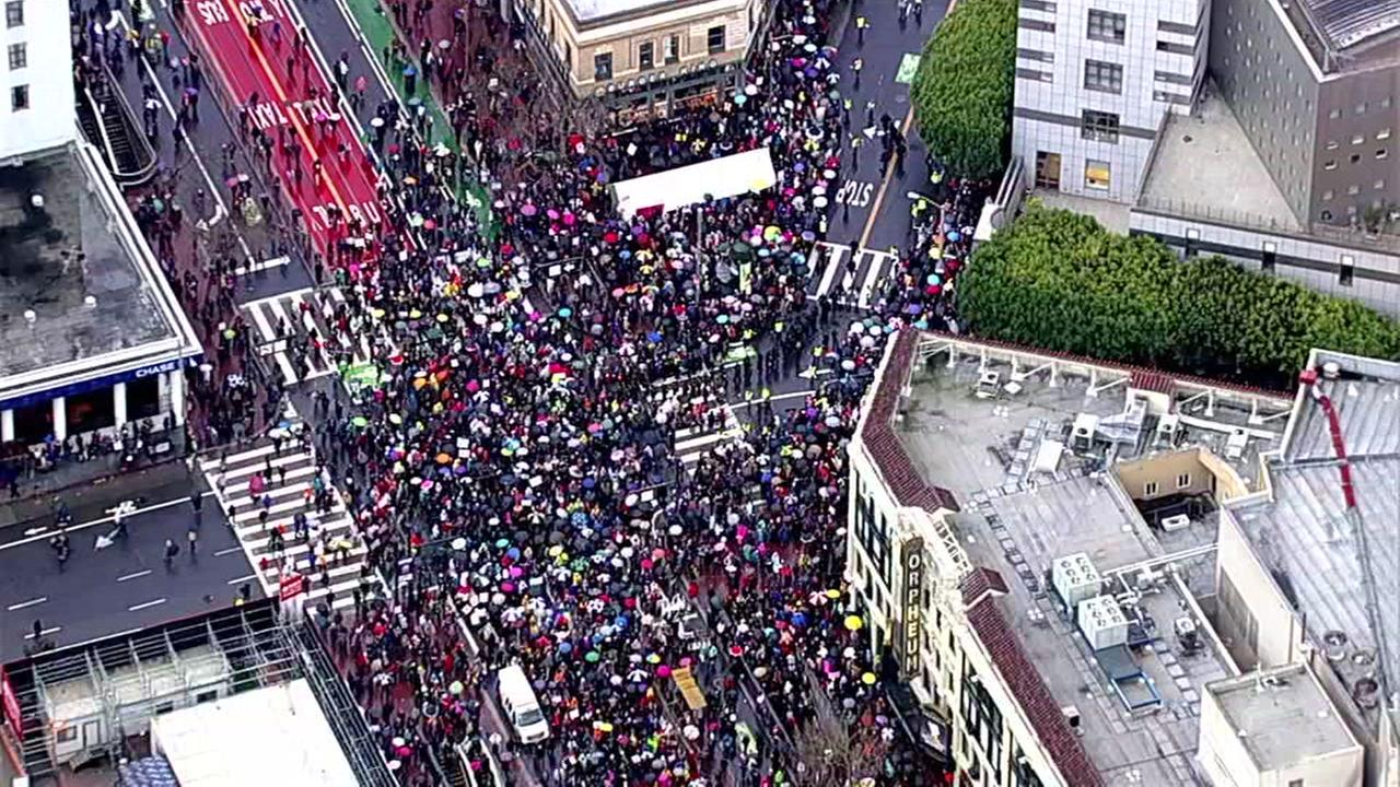 A large crowd is seen walking down Market Street in San Francisco, Calif. for the Womens March on Saturday, January 21, 2017.KGO-TV