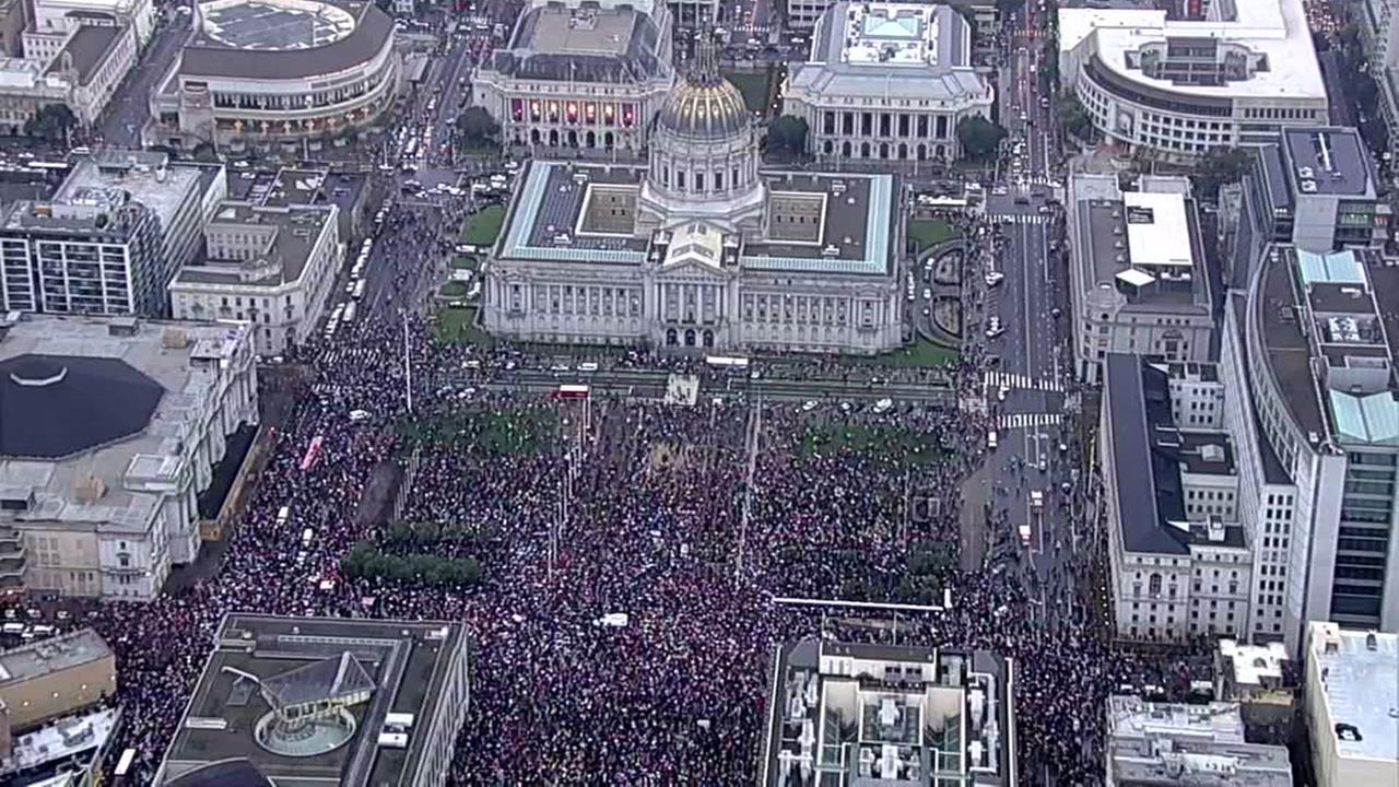 A large crowd gathered in front of City Hall in San Francisco, Calif. for the Womens March on Saturday, January 21, 2017.KGO-TV