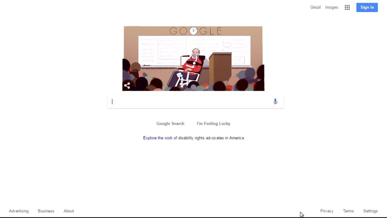 A Google doodle honoring Ed Roberts is seen on Monday January 23, 2017.