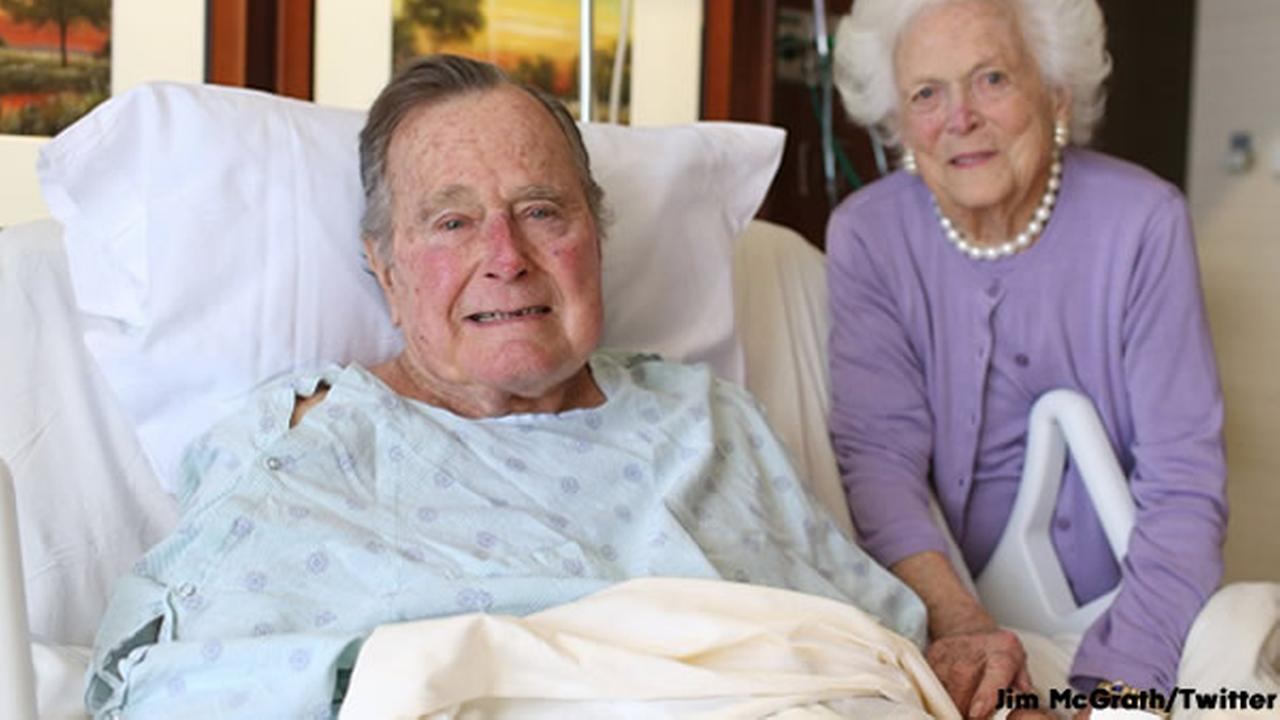 Former President George H.W Bush and Barbara Bush are seen at the Houston Methodist Hospital on Monday, January 23, 2017.