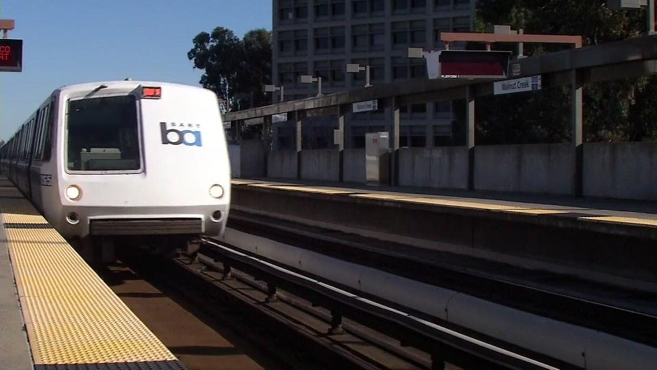 A BART train pulls into the station in Walnut Creek, Calif. on Thursday, January 26, 2017.