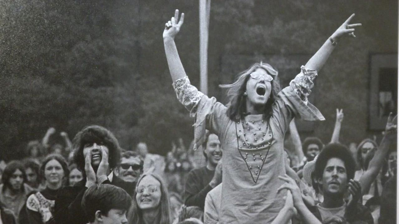 This is an undated image of hippies in San Francisco taken by rock and roll photographer Jim Marshall.
