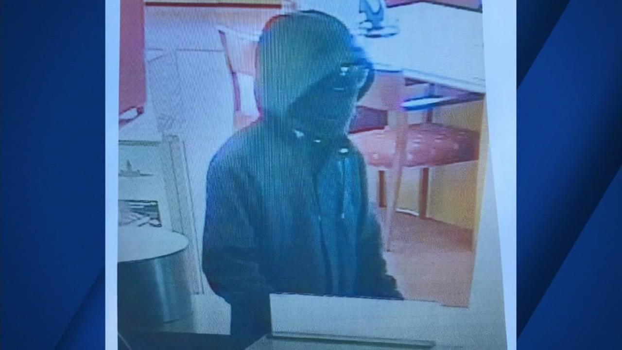The suspect is seen robbing a bank in Santa Clara County on Thursday January 26, 2017