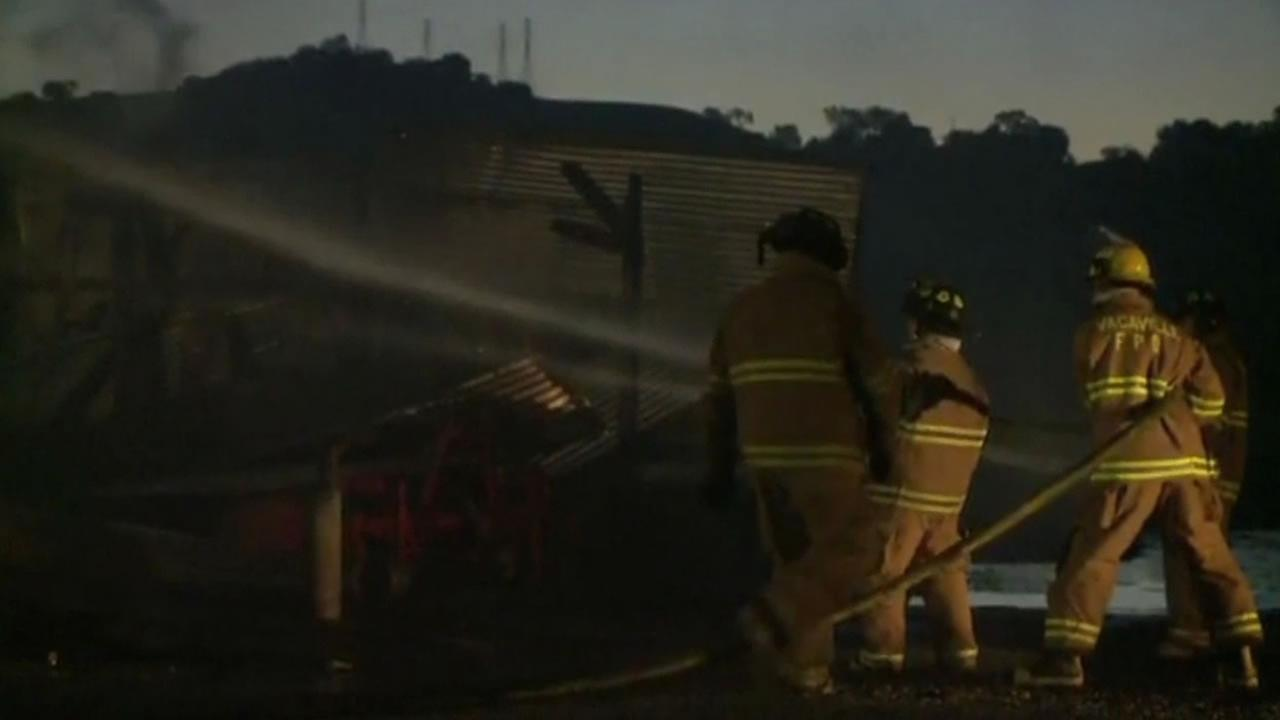 Vallejo firefighters putting out a fire at an old fire station.