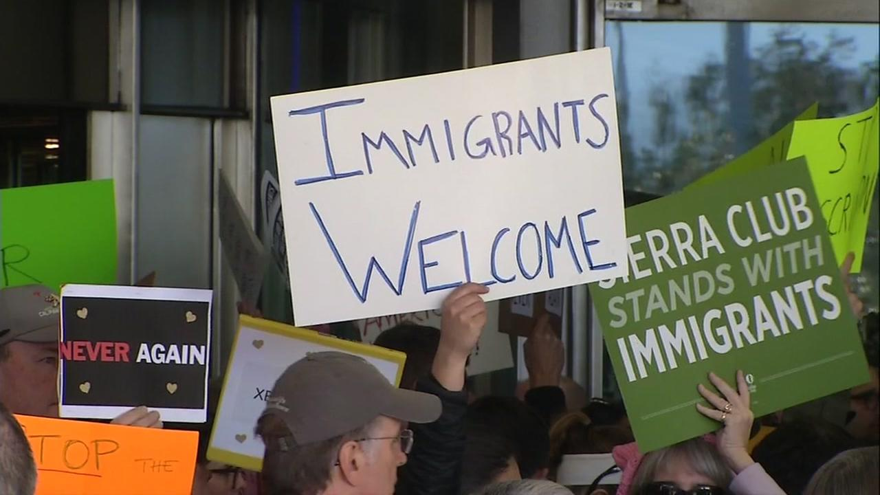 Hundreds of people gathered at the San Francisco International Airport to protest President Trumps Muslim travel ban.KGO-TV