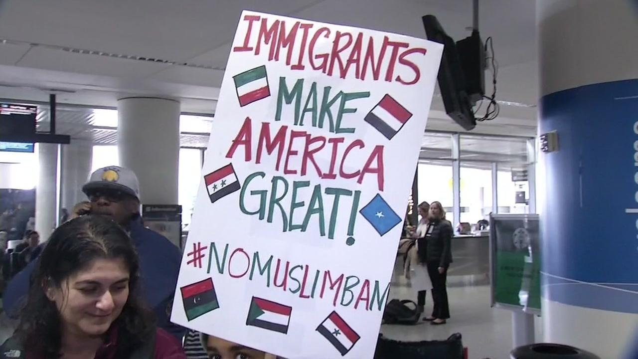 Hundreds of people gathered at San Francisco International Airport to protest President Donald Trumps immigration ban on Sunday, January 29, 2017.KGO-TV