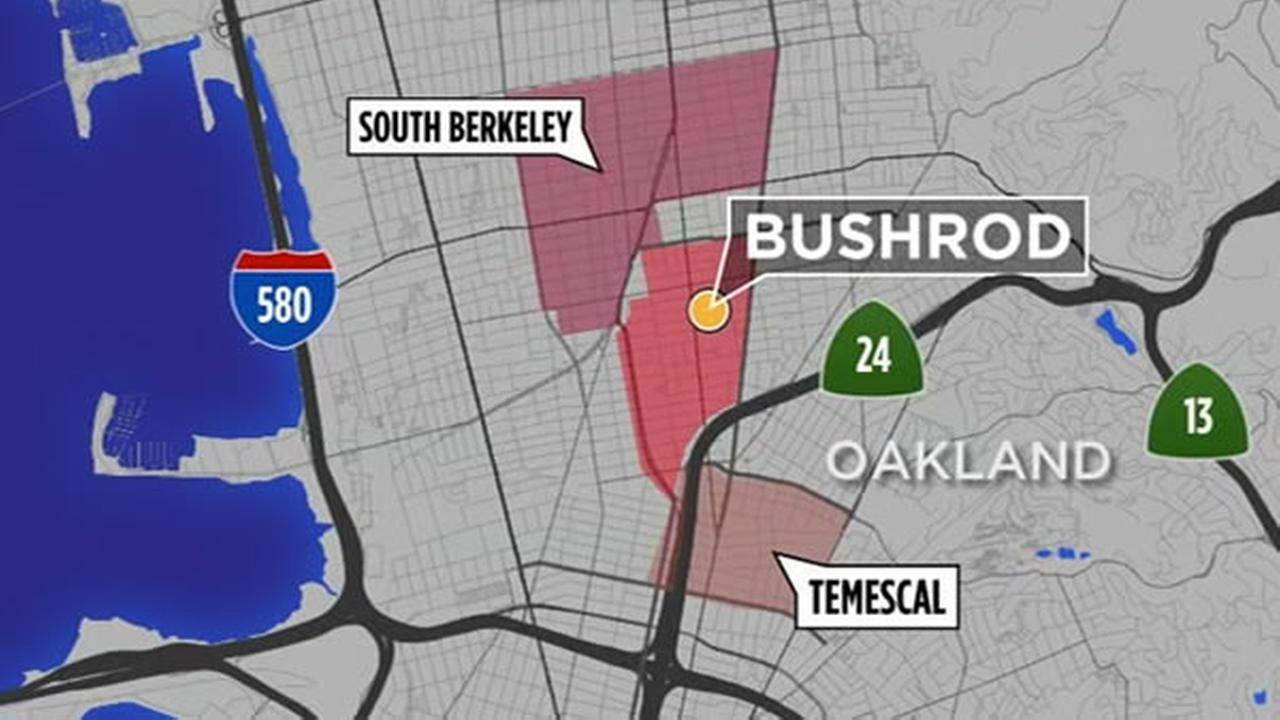 This map shows Oakland, Calif.s Bushrod neighborhood.
