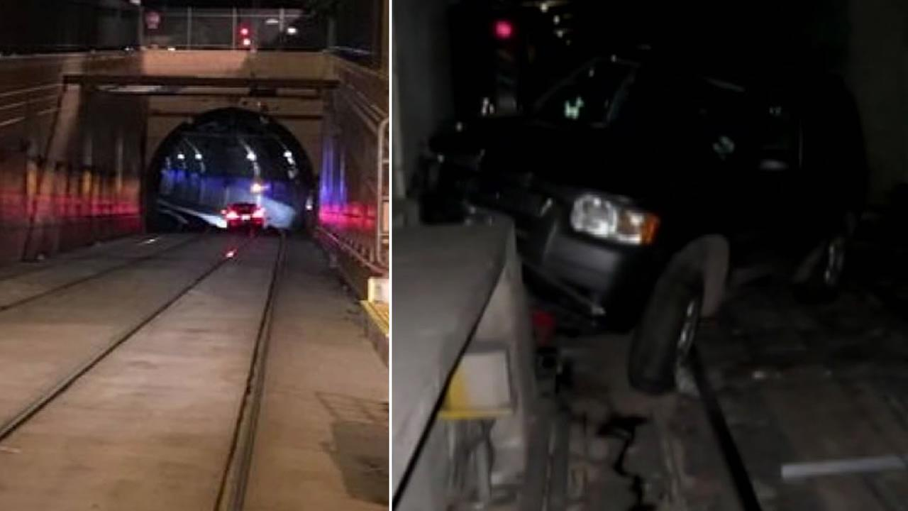 Cars are stuck in the Sunset Tunnel in San Francisco on two separate occasions.