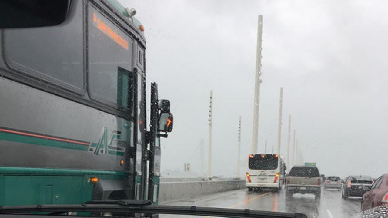 Two AC Transit  buses were disabled on the Bay Bridge as showers hit the area on Tuesday, Feb. 7, 2017.KGO-TV