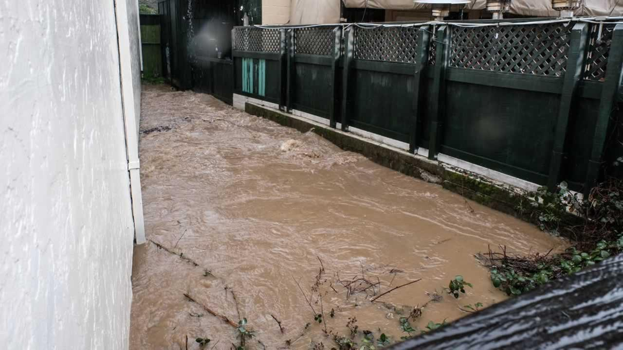 Downtown San Anselmo, Calif. was evacuated on Tuesday, Feb. 7, 2017 as the creek brimmed at flood stage.KGO-TV/Wayne Freedman